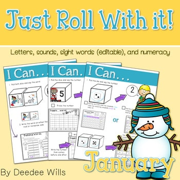 Math and Literacy Center: Just Roll With It: January-editable 1
