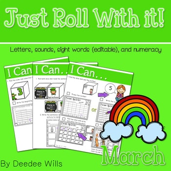 Math and Literacy Center: Just Roll With It: March-editable 1