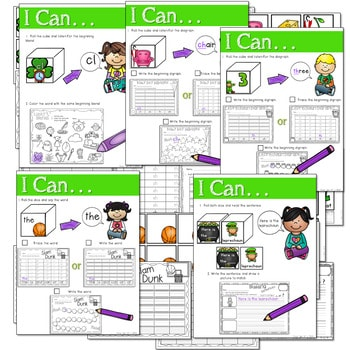 Math and Literacy Center: Just Roll With It: March-editable 3