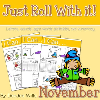 Math and Literacy Center: Just Roll With It: November-editable 1