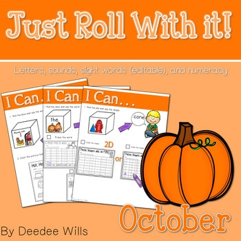 Math and Literacy Center: Just Roll With It: October-editable 1