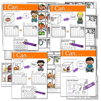 Math and Literacy Center: Just Roll With It: October-editable 2