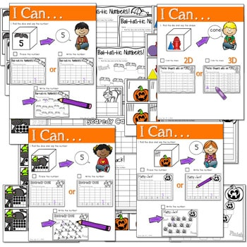 Math and Literacy Center: Just Roll With It: October-editable 3
