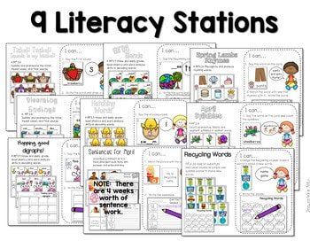 Math and Literacy Center for April 2