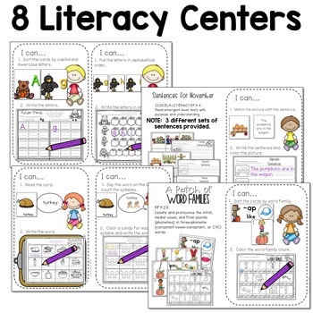 Math and Literacy Center for November 2