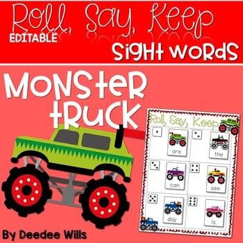 Monster Truck Sight Words Roll, Say, Keep-Editable 1