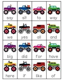 Monster Truck Sight Words Roll, Say, Keep-Editable 3