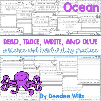 Oceans read, trace, glue, and draw 1