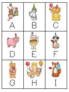 Party Animals Memory and ABC Game editable 2