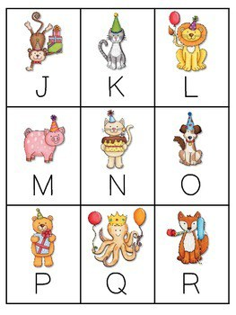 Party Animals Memory and ABC Game editable 3