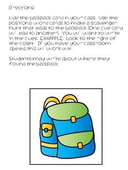 positional words back pack hunt free mrs wills kindergarten