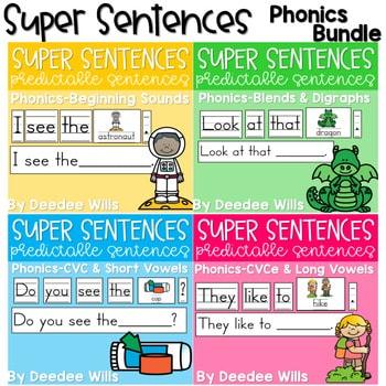 Predictable Sentences | Simple Sentences PHONICS BUNDLE 1