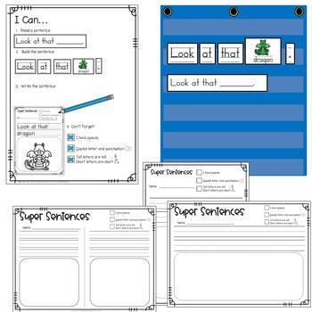Predictable Sentences   Simple Sentences PHONICS Blends and Digraphs 2