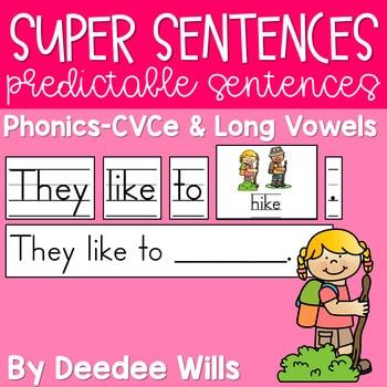 Predictable Sentences | Simple Sentences PHONICS CVCe and Long Vowels 1