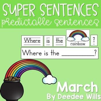 Predictable Sentences | Simple Sentences for March 1