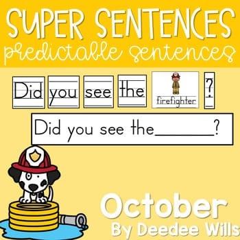 Predictable Sentences | Simple Sentences for October 1