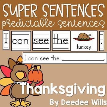 Predictable Sentences   Simple Sentences for Thanksgiving 1