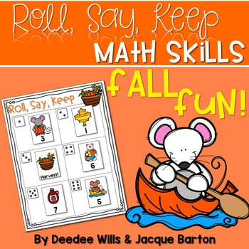 Roll, Say, Keep Math Center Game Fall 1