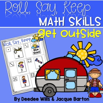 Roll, Say, Keep Math Center Game Get Outside 1