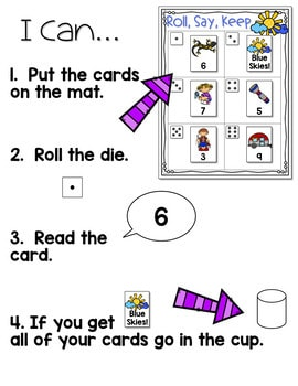 Roll, Say, Keep Math Center Game Get Outside 3