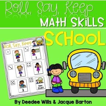 Roll, Say, Keep Math Center Game School 1