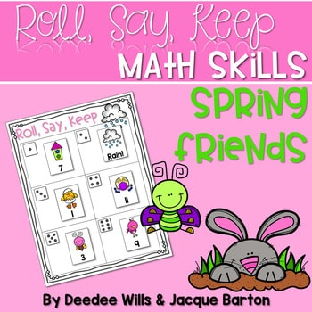 Roll, Say, Keep Math Center Game Spring 1