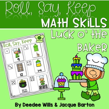 Roll, Say, Keep Math Center Game St Patrick's Day 1