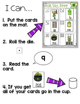 Roll, Say, Keep Math Center Game St Patrick's Day 3