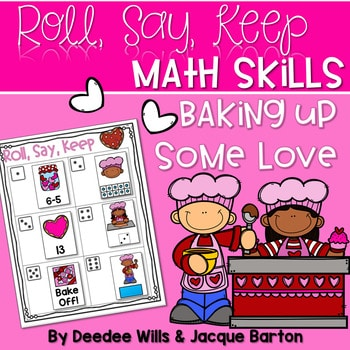 Roll, Say, Keep Math Center Game Valentines Day 1