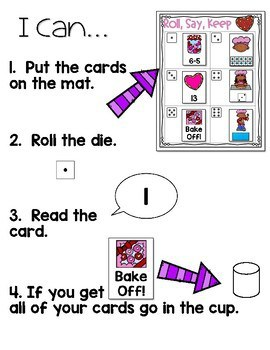 Roll, Say, Keep Math Center Game Valentines Day 4