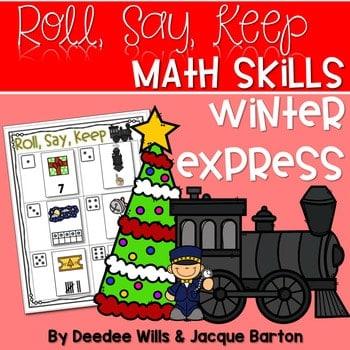 Roll, Say, Keep Math Center Game Winter Express 1