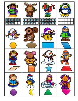 Roll, Say, Keep Math Center Game Winter 3