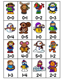Roll, Say, Keep Math Center Game Winter 4