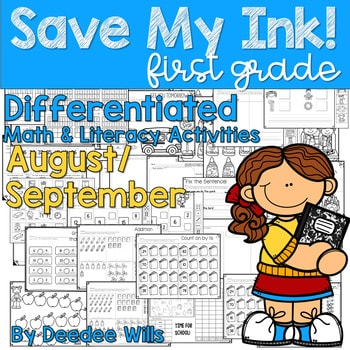 Save My INK: Aug/Sept 1st Grade Math and LiteracyWorksheets 1