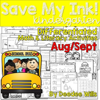 Save My INK: Aug/Sept NO PREP Math and Literacy Worksheets 1