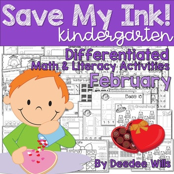Save My INK: February NO PREP Math and Literacy Activities 1