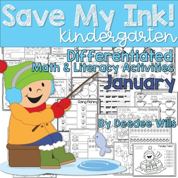 Save My INK: January NO PREP Math and Literacy Worksheets 1