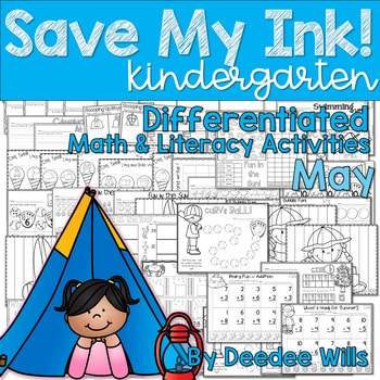 Save My INK: May NO PREP Math and Literacy Worksheets 1