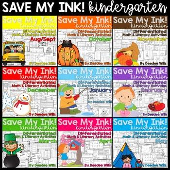 Save My INK:NO PREP Math and Literacy Worksheets BUNDLE 1