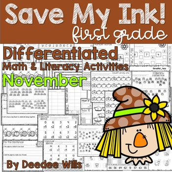 Save My INK: November 1st Grade Math and Literacy Activities 1