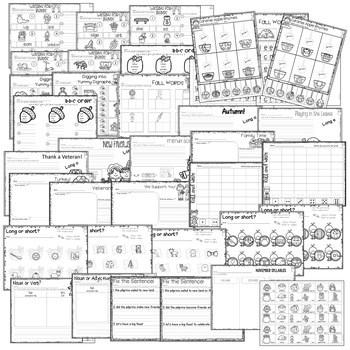 Save My INK: November 1st Grade Math and Literacy Activities 2