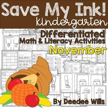 Save My INK: November NO PREP Math and Literacy Activities 1