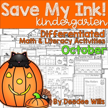 Save My INK: October NO PREP Math and Literacy Worksheets 1
