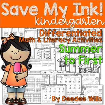 Save My INK: Summer to 1st NO PREP Math and Literacy Worksheets 1