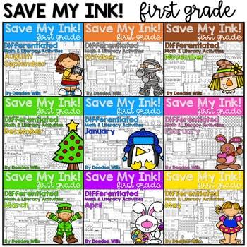 Save My Ink 1st Grade Worksheets Bundle 1