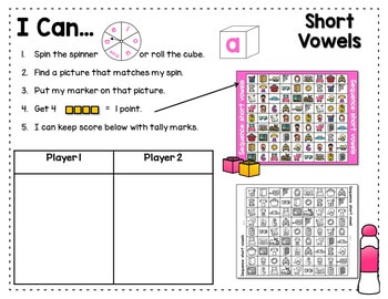 Sequence Game and Sorts VOWELS 2