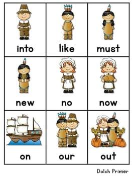 Sight Word Fluency Thanksgiving 4