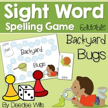 Sight Word Spelling Game ~ Backyard Bugs ~ editable 1