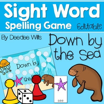 Sight Word Spelling Game ~ Down by the Sea ~ Editable 1