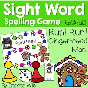 Sight Word Spelling Game ~ Gingerbread ~ Editable 1